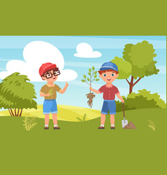children plant seedling happy kid boy farmer vector image