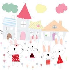 Cute cartoon rabbit bunny in flower town vector
