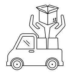 delivery service truck with hands protection vector image