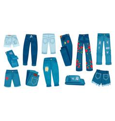 Denim jean pants trendy fashion female jeans vector