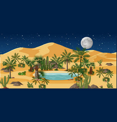 Desert oasis with palms and nature vector