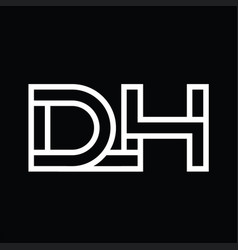 Dh logo monogram with line style negative space vector