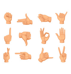 Different hands gestures pictures in vector