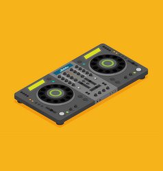 Dj turntable device in flat style isolated on vector