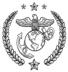 Doodle us military wreath marines vector