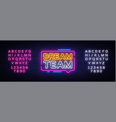 dream team neon text dream team neon sign vector image