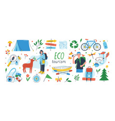 Ecotourism set collection eco friendly tourism vector
