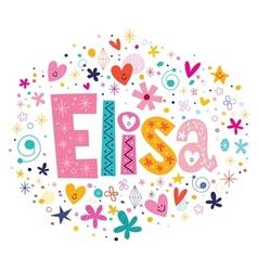 Elisa female name decorative lettering type design vector image