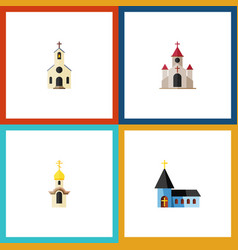 Flat icon church set of christian structure vector