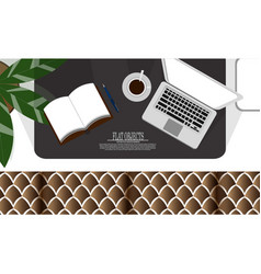 flat object design set working space on the couch vector image