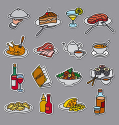 food and meal stickers vector image