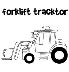 Forklift tracktor with hand draw vector