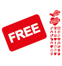free card icon with dating bonus vector image