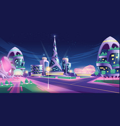future city with skyscrapers and crossroad vector image
