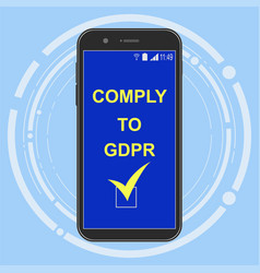 Gdpr compliance readiness on phone screen vector