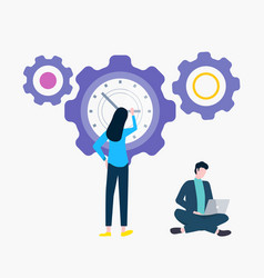 gear and time clock woman and man with laptop vector image