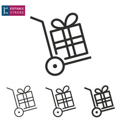 gift box line icon on white background editable vector image