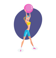 girl engaged exercise therapy exercises with ball vector image
