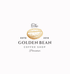 golden bean abstract sign symbol or vector image