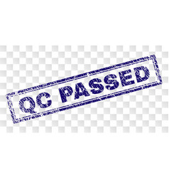 grunge qc passed rectangle stamp vector image