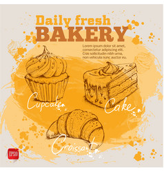Hand drawn sketch cupcake cake croissant vector