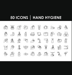 hand hygiene icon set line style vector image