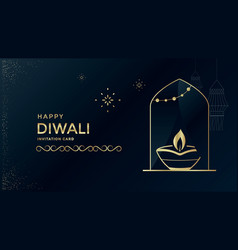 happy diwali festival a greeting card design vector image
