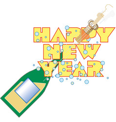 happy new year fancy champagne bottle holiday vector image