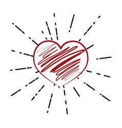 heart hand draw vector image