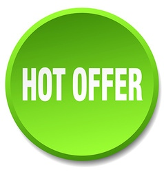 Hot offer green round flat isolated push button vector