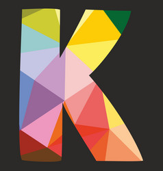 K low poly colorful alphabet letter isolated vector