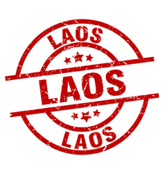 laos red round grunge stamp vector image