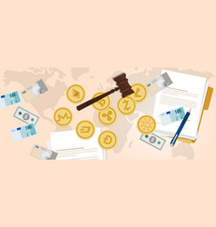 Law legal aspect of crypto-currency coin set vector
