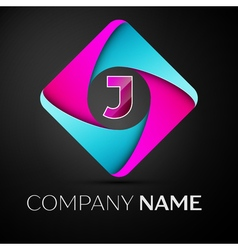 Letter j logo symbol in the colorful rhombus vector