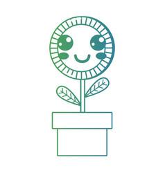 line kawaii cute happy sunflower plant vector image