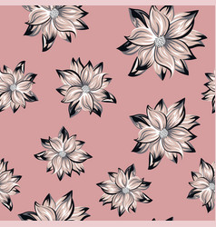 Lotus flowers seamless pattern pink background vector