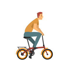 male cyclist character young man riding bike vector image