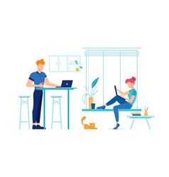 man and woman with laptops on kitchen home vector image