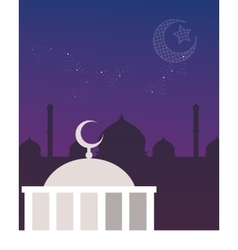 Mosque dome night sky crescent and stars islam vector