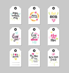 mothers day set of greeting card or shopping tag vector image