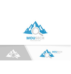 Mountain and loupe logo combination nature vector