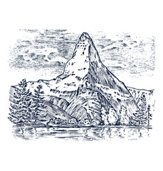 mountains peaks vintage matterhorn old looking vector image