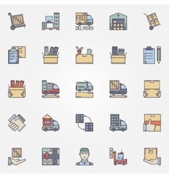 Moving colorful icons set vector