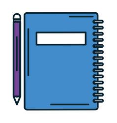 Notebook school with pencil vector