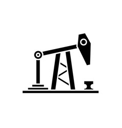 oil rig black icon sign on isolated vector image