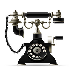 Old telephone isolated on white retro rotary dial vector