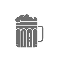 pint of beer alcohol glass with drink grey icon vector image