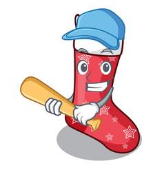 playing baseball character christmas sock for vector image