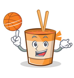 Playing basketball cup noodles character cartoon vector