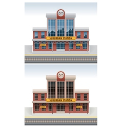 Railway station icon vector